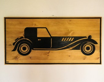Painting on wood old car