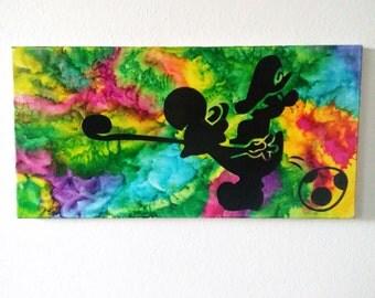 Yoshi Crayon Art Silhouette - Pre-Made* - Melted Crayon Art - Nintendo - Yoshi's Island - Mario