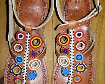 tausi maasai sandals / tribal sandals / beaded sandals