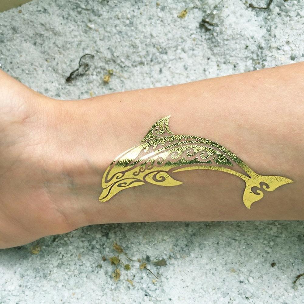 Dolphin Henna Tattoo: 3 Temporary Beach Tattoos Dolphin Metallic Gold Tattoo Set