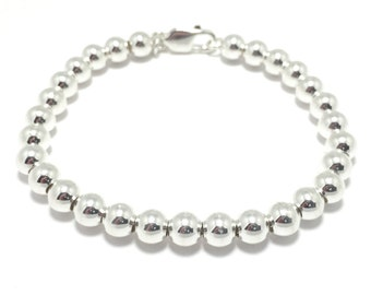 Sterling Silver Ball Bead Bracelet 925 small silver ball bracelet 6mm silver bead balls bridal gift bracelet classy round silver bracelet