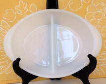 Vintage Glasbake Divided All White Casserole Dish WITH LID