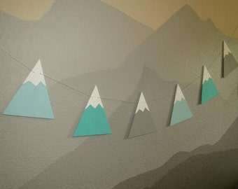 Hand Painted Wood Bunting Flags Mountains