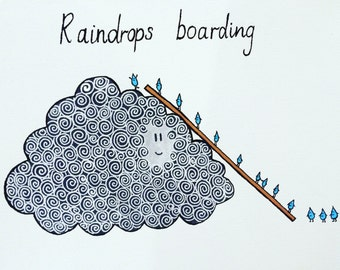 Painting 'Raindrops Boarding'
