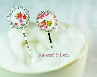 Lovely White and Pink, Floral Button Bobby Pins, Decorative Hair Pins, Flower Girl Gift, Will You Be My Flower Girl, Small Hair Clips