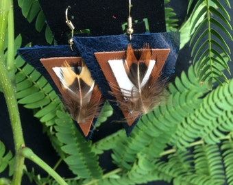 Triangle feathered earrings