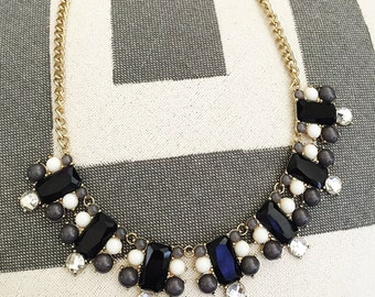 Back In Black Bib Statement Necklace