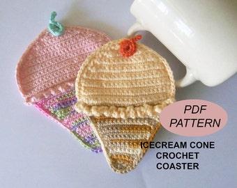 Crochet Coaster PDF Pattern, icecream cone coasters, patterns&tutorials, snack coasters