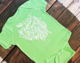 Apple of My Eye Baby Bodysuit - Cute Gender Neutral Baby Clothing - Apple Green