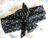 Black & White Polka-Dot Bow Headwrap - Headband - Turban - Topknot Headband - Bow Headband - Big Bow Headwrap - Baby headwrap-Adult Headwrap