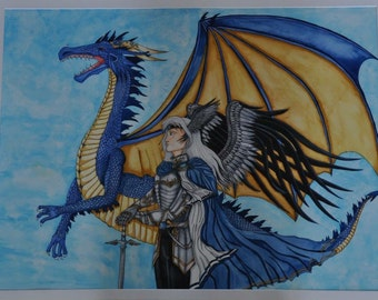 Fantasy painting: dragon elf knight