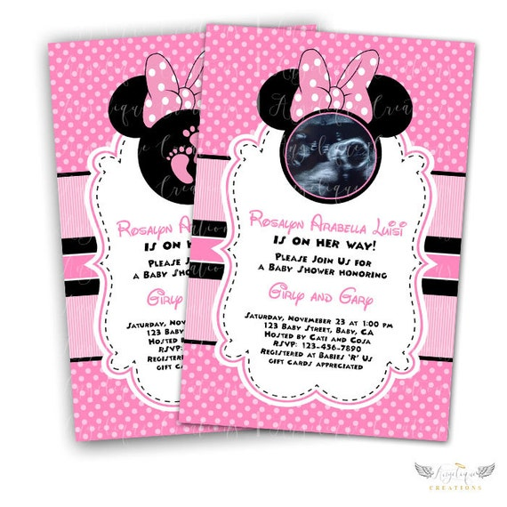 Pink Minnie Baby Shower Invitations & Blank Digital File Thank You Card to match