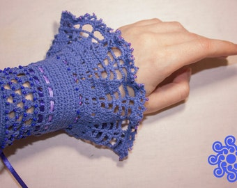 Persian blue cotton Mittens (long blue-violet crocheted cuffs)