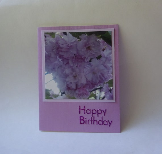 Birthday Card with Cherry Blossoms Flowers - #102 - 5