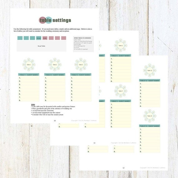 table settings template for a wedding or party seating chart