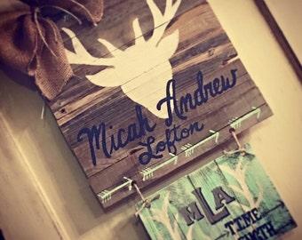 MICAH ANDREW: deer themed baby annoucement door hanger