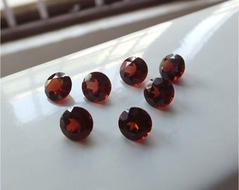 5 Pieces Lot 7mm faceted red garnet round calibrated size faceted red color gems AAA quality natural garnet loose gemstone Lot wholesale