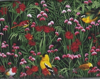 Gold Finches, in a field of Flowers, Timeless Treasures