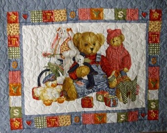 Night time Teddy...Pre-quilted Baby Panels.
