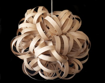 "Handmade Real Wood Lighting, Dahlia Pendant Light 22"", Bullandburd, Pendant, Wood Ceiling fixture, Hanging Light Veneer, Modern Wooden Light"