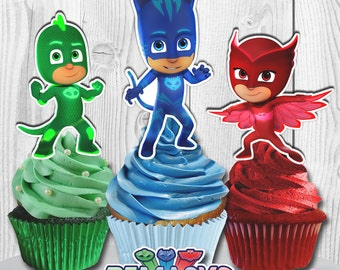PJ Masks Cupcake Toppers, PJ Masks Cake Toppers, PJ Masks Cupcake Picks, Digital File, You Print