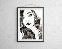Splatter Portrait , Jackson Pollock,Pin-up,Splatter,pinup,Sexy,nerd, 11x14, Print, Artwork, Painting,Decor,Surreal,Art,geek