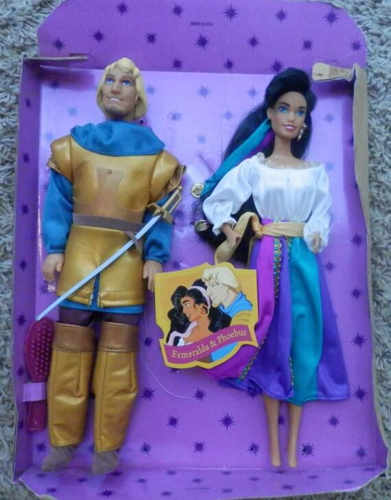 """disney hunchback notre dame gift set esmeralda & phoebus 1996 mattel dolls 11"""" rare"""