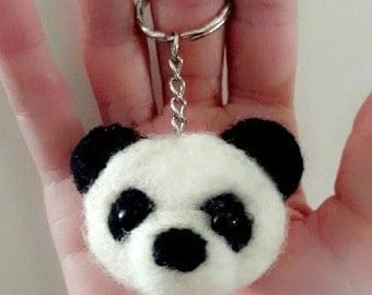 Needle Felt Panda Keychain