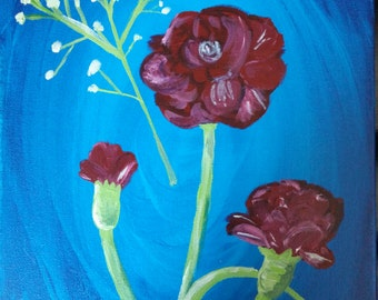 Acrylic Painting - Carnations