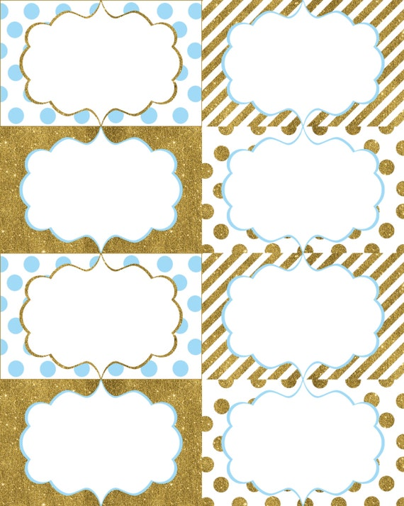 Blue and Gold Food Labels, Printable Food Labels, Polka ...