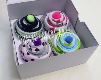 Set of Four (4) Washcloth Cupcakes in Box, Baby Shower Gift, Unique Baby Gift, Baby Cupcakes, New Baby Gift, Newborn Gift, Gift for Baby