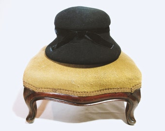 Vintage Black Velvet Womens Hat