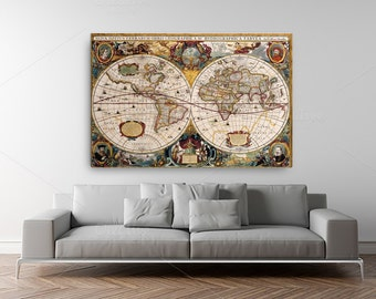 Historical 1630 World Map by Henricus Hondius