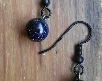 Blue Goldstone Orb Earrings