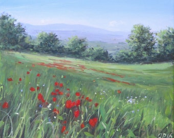 Poppy Field Tuscan oil painting