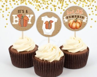 Little Pumpkin Baby Shower - Autumn Baby Shower Cupcake Toppers - Printable - Instant download