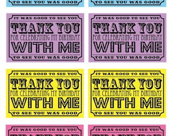 Carnival Circus Party Thank You Tags