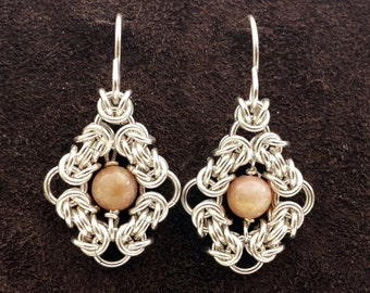 Byzantine Eye Chainmail Earrings - Sterling Silver with Peach Moonstone