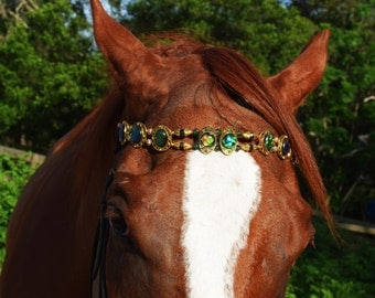 """Horse  browband beaded headstall green gold headstall """" The Kingly Crown """"  #0600"""