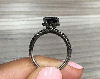 2.35 Round Fancy Black Diamond Engagement Ring made in 18k BLACK GOLD