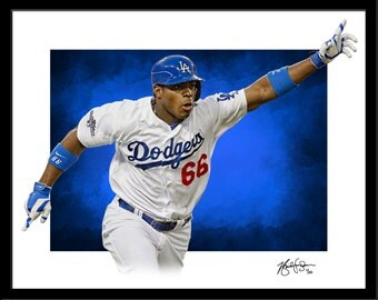 Yasiel Puig Print- Fine Art - Modern Graphic Decor - Los Angeles Dodgers Baseball