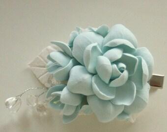 Light blue rose brooch polymer clay