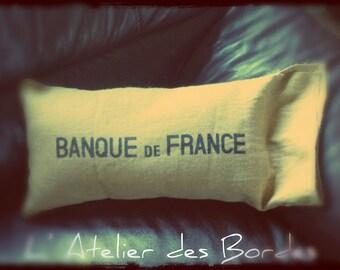 Decorative cushion original Hessian Bank of France