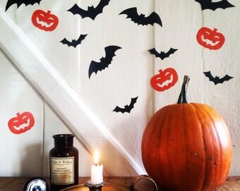 Halloween Wall Decals~ Bat Pumpkin Wall Decals~ Halloween Stickers~ Hallowee Decor~ Hallowen Party Decor~ Pumpkin Stickers~ Bat Stickers