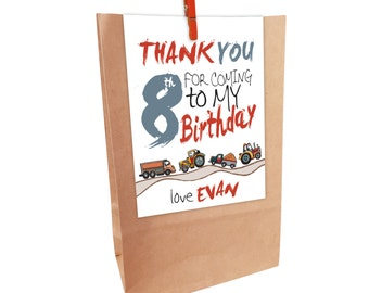 Kids Birthday printed TRUCKS & TRACTORS Paper Party Bags with Peg. Matching invitations available.