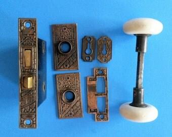 Antique Door Knob Set, White Porcelain Knobs with Ceylon Lock & Plates, ca. 1890