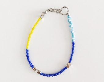 Minimal Set of Three Multicolor Bracelets Blue - Sky blue - Yellow