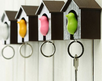 Bird Keychain - also includes Birdhouse, available in multiple colors, House Keyring, House Keychain, House Car keys, Organizer, Key Holder