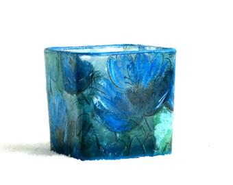 Blue square votive