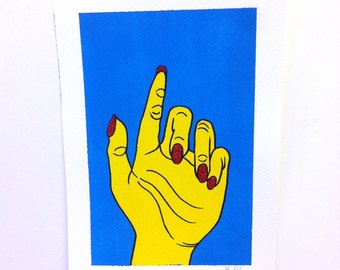 Yellow Hand A4 Original painting, signed and editioned